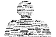 Word cloud concept, nationality of the peoples Stock Photos