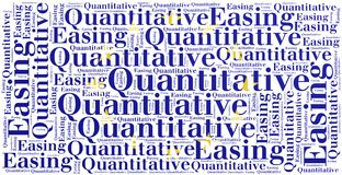 Word cloud concept related to quantitative easing Stock Images