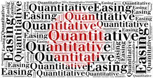 Word cloud concept related to quantitative easing Royalty Free Stock Images