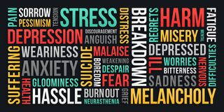Stress, Depression, Anxiety - Word Cloud stock illustration