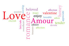 Word cloud consept  illustration of love. Words of love and valentine in different colors Stock Images