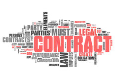 Word Cloud Contract. Word Cloud with Contract related tags Stock Images