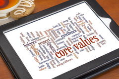 Word cloud of core values. Word cloud of possible core values on a digital tablet with a cup of tea and cookie stock photography