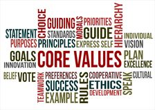 Word cloud - Core values. A word cloud of Core values related items Stock Images