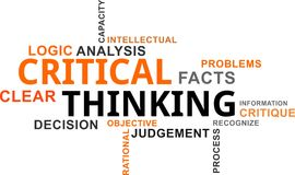 Word cloud - critical thinking Stock Image
