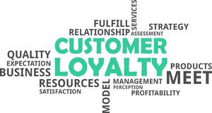Word cloud - customer loyalty. A word cloud of customer loyalty related items vector illustration