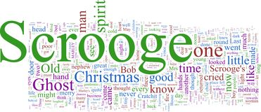 Word Cloud: Dickens' Christmas Carol Stock Photos