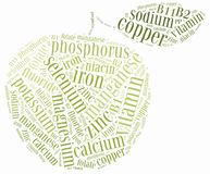 Word cloud diet or nutrition related, including minerals Stock Images