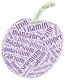 Word cloud diet or nutrition related, including minerals Stock Photos