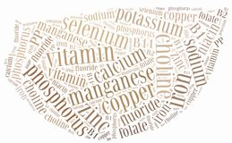 Word cloud diet or nutrition related, including minerals Stock Photo