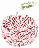 Word cloud diet or nutrition related, including minerals Royalty Free Stock Image
