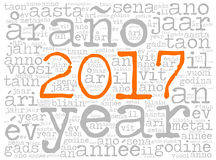 Word cloud 2017 in different languages. Word cloud 2017. The word Year is in many different languages. Typewriter font with orange highlighted year number and royalty free illustration