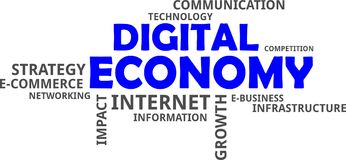 Word cloud - digital economy Stock Images