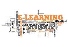 Word Cloud E-Learning. Word Cloud with E-Learning related tags Royalty Free Stock Image