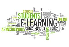 Word Cloud E-Learning. Word Cloud with E-Learning related tags Royalty Free Stock Photography