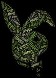 Word cloud Easter related in shape of bunny Royalty Free Stock Images