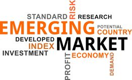 Word cloud - emerging market. A word cloud of emerging market related items stock illustration