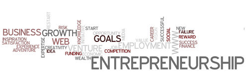 Word Cloud Entrepreneurship. A Wordcloud showing many Tags of a Topic Stock Photo