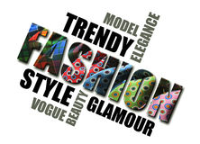 A word cloud of fashion. Trendy, elegance, model, style, glamour Stock Images