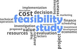 Word cloud - feasibility study. A word cloud of feasibility study related items Stock Photos