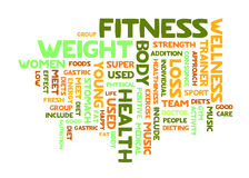 Word cloud of fitness. Fitness word cloud on white background Royalty Free Stock Image