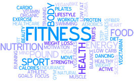 Word Cloud Fitness. Tag Cloud for the Topic of Fitness and Health Royalty Free Stock Image