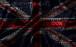 Word cloud formed from the cities of UK Stock Photo