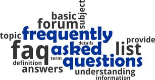 Word cloud - frequently asked questions. A word cloud of frequently asked questions related items Royalty Free Stock Image