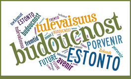 Word Cloud Future in different languages Stock Image