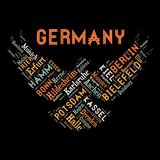Word cloud as background. Word cloud of the Germany cities as background Stock Photo