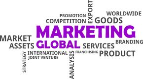 Word cloud - global marketing. A word cloud of global marketing related items vector illustration