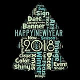 Happy new year 2018 in world. Word cloud of the happy new year 2018. Celebration in the all world royalty free illustration