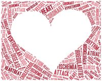 Word cloud heart disease related in shape of heart organ Royalty Free Stock Image
