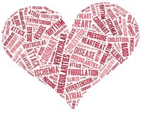 Word cloud heart disease related Stock Image