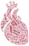 Word cloud heart disease related. In shape of heart organ Royalty Free Stock Photos