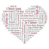 Word cloud heart. Phrase I love you in many languages Royalty Free Stock Photo