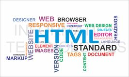 Word cloud - html. A word cloud of html related items royalty free illustration