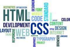 Word cloud - html and css. A word cloud of html and css related items Stock Photo