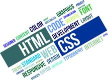 Word cloud - html and css. A word cloud of html and css related items Royalty Free Stock Images
