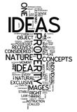 Word Cloud Ideas. Word Cloud with Ideas related tags Stock Photos