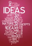 Word Cloud Ideas. Word Cloud with Ideas related tags Royalty Free Stock Photos