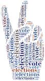 Word cloud illustration related to elections or voting Stock Images