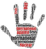 Word cloud illustration related to nuclear tests Stock Photo