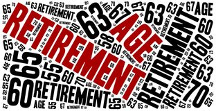 Word cloud illustration related to retirement age. Royalty Free Stock Photos