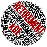 Word cloud illustration related to retirement age. Royalty Free Stock Photo