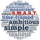 Word cloud illustration related to SMART concept of goals Stock Photo