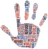 Word cloud illustration related to world refugee day Stock Photo