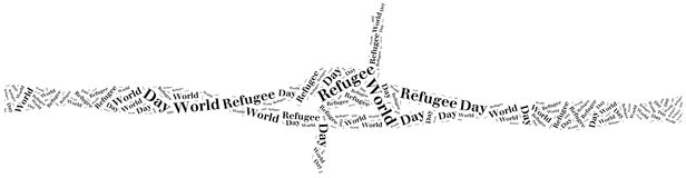 Word cloud illustration related to world refugee day Stock Photography