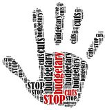 Word cloud illustration in shape of hand print showing protest. Royalty Free Stock Image