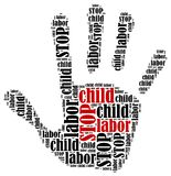 Word cloud illustration in shape of hand print showing protest. Royalty Free Stock Photos